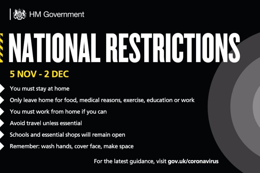 New national Coronavirus restrictions starting on 5 November